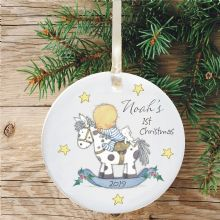 Baby Boy's 1st Christmas Ceramic Xmas Tree Decoration - Rocking Horse Design